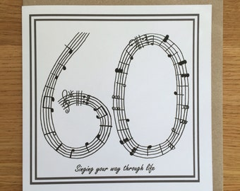 60th birthday card /music card/ singing card/ sixty
