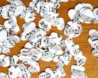 200 Confetti Shapes - Vintage Music Paper Shapes - Music Paper Hearts - Music Party Table Decor