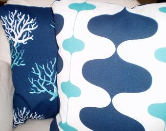 OUTDOOR Navy Blue Aqua Pillow Covers, Decorative Throw Pillow, Cushions Outdoor Pillows Navy Blue Aqua Ivon Isadella Combo Set Various Sizes