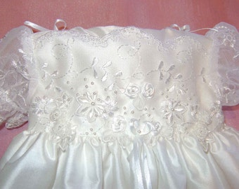 """A Beautiful White Silk & Lace Embellished  Christening Gown """"Helen"""""""