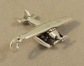 Sterling Silver 3-D FLOATPLANE Charm Pendant Seaplane Float Plane Alaska Seattle Airplane .925 Sterling Silver 925  New vh05