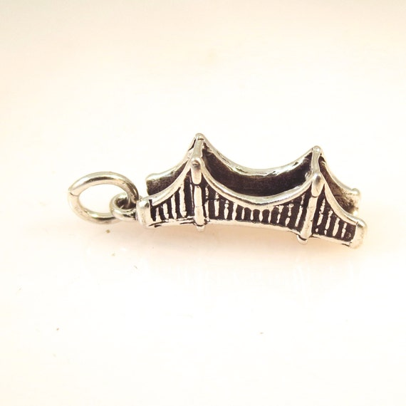 Sterling silver 3 d golden gate bridge charm pendant san for Golden gate bridge jewelry