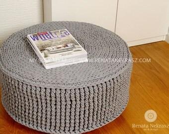 Crochet pouf, crochet footstool, round pouf, knitted pouf, knitted footstool, pouf, footstool, table model 014. 75cm / 29,5inch