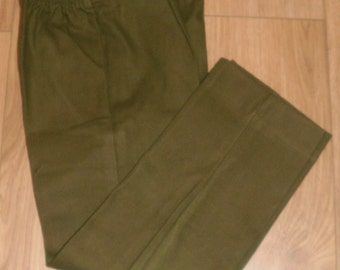 Vintage Olive Green Brushed Cotton Trousers 110cm New Old Stock Seconds Army 110cm