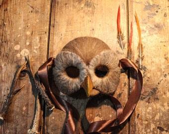 Owl face mask handmade to order Woodland Masks, animal masks, festival headdress, animal characters, folk art, owl mask, needle felt.