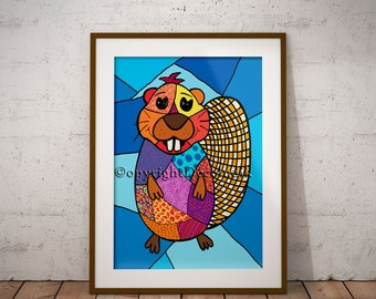 Beaver print, illustration, 3d, patchwork beaver, 8,5',X11''