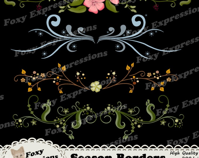 Season Borders digital clip art comes with 4 beautifully detailed border pieces to brighten up any project. Vines, flowers, leaves, & snow