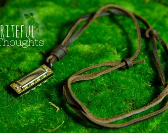 Leather Mini Harmonica Necklace