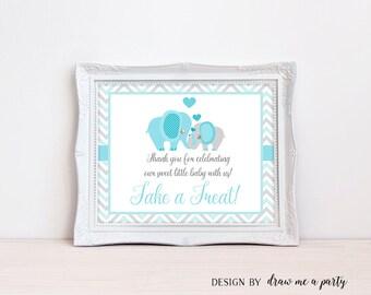 Elephant Baby Shower Sign , Dessert Table Sign , Please Take A Treat Sign ,  Elephant Boy Baby Shower , Printable , Instant Download