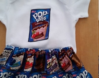 Cute unique outfit made from pop tart fabric 0-3, 3-6, 6-9, 9-12