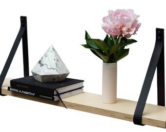 Leather Strap Shelf- Black Leather Straps Blonde Timber Plywood Veneer Wall Hung Shelf