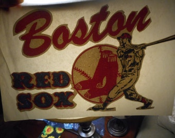 True Vintage Boston Red Sox iron on decal.Free Shipping.