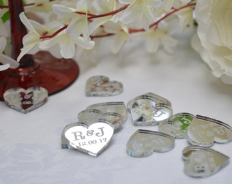 Hearts Silver Acrylic PERSONALISED wedding Table Confetti with initials and dates