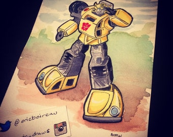 Bumblebee original watercolor illustration