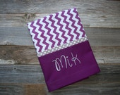 "Personalized Purple Pillowcase - Purple Chevron Standard Size Cotton Pillowcase, 20"" x 30"""