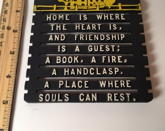 """Vintage Cast Iron Trivet """"Home is where the Heart is"""""""