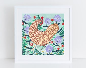 Brown Chicken Among Lilac Flowers Art Print, 30x30cm