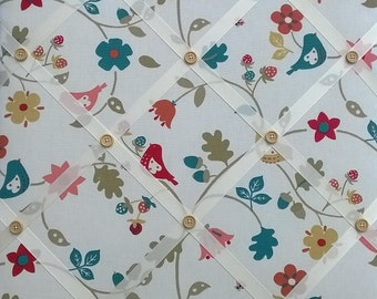 Memo/Pin Board Covered in Autumn Bramble fabric - with ivory grosgrain ribbon & hand-stitched buttons - Handmade