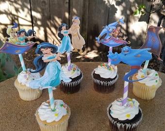 Aladdin, princess Jasmine cupcake toppers, birthday party