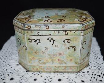 Floral tin / aged floral tin / made in Brazil / Brazil / pastel colors / blue / gold /green / vintage tin / vintage floral tin / tin /