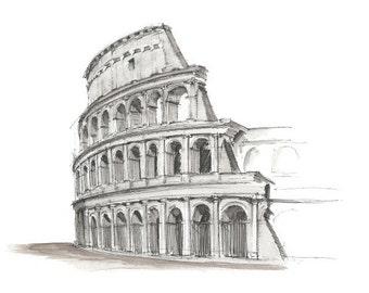 PRINT - Roman Architecture [Colosseum] - Ink & Watercolor