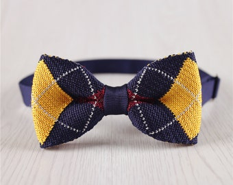 vintage knitted bowtie for wedding.blue plaid bowtie.red bowtie for groomsmen.knitted accessories.designer bowties.knitted neckwear+bt80