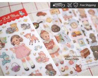 Afrocat Paper Doll Mate V2 (Transparent) Stickers Lovely Card Making Adorable Valentines Day Cartoon DIY Stationary Toy 6 sheets - KS-SA-186