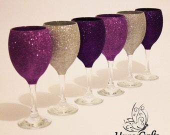 Glitter Top Wine Glasses Set of 6 Silver Purple Cadbury Purple