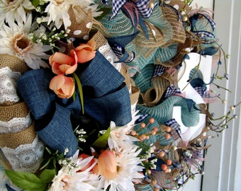 Breath Taking! Deluxe Country Peach & Denim Mesh Wreath GREAT Mother's Day Gift! French Country, Door Decor, ,Monogram