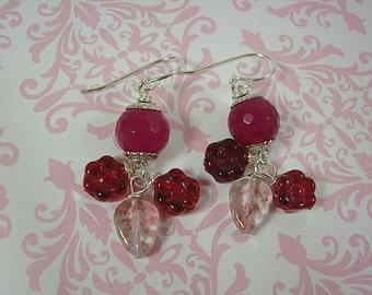Rasberry Quartz and Czech Glass Flower Earrings