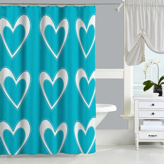 Items Similar To Aqua Shower Curtain White Teal Shower