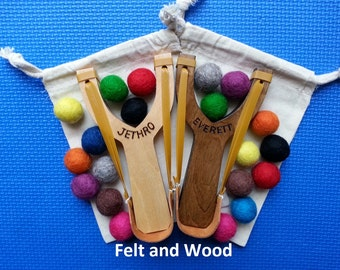 Set of 2 - Personalized Handmade Wooden Slingshots. Great Birthday Gifts.