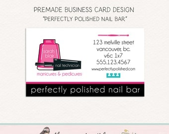 manicurist business card nail salon business card nail polish business card premade business card nail technician business card design
