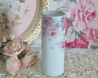 Lovely Hand Painted Roses Porcelain Vase, Marked Japan