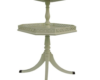 Two Tier Table Cottage Table Vintage Painted Night Stand  Shabby Tiered Accent Table French Side Table Distressed Table Pie Crust Table
