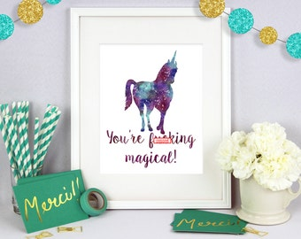 Unicorn Art, Gift for Her, Christmas Gift, Poster Art, Wall Art, Poster Wall Art, Typography Print, Typography Art, Birthday Present