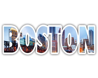 Boston Massachusetts Skyline Lettering Vinyl Decal Sticker