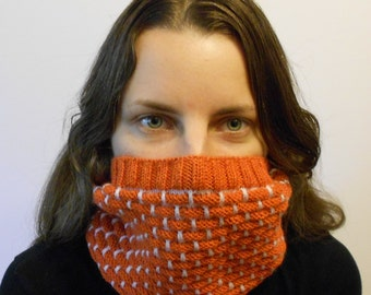 Hand knit snood knitted scarf warm collar