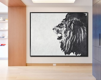 Large oil painting-Original Abstract painting on canvas-Modern Home fine art-Lion