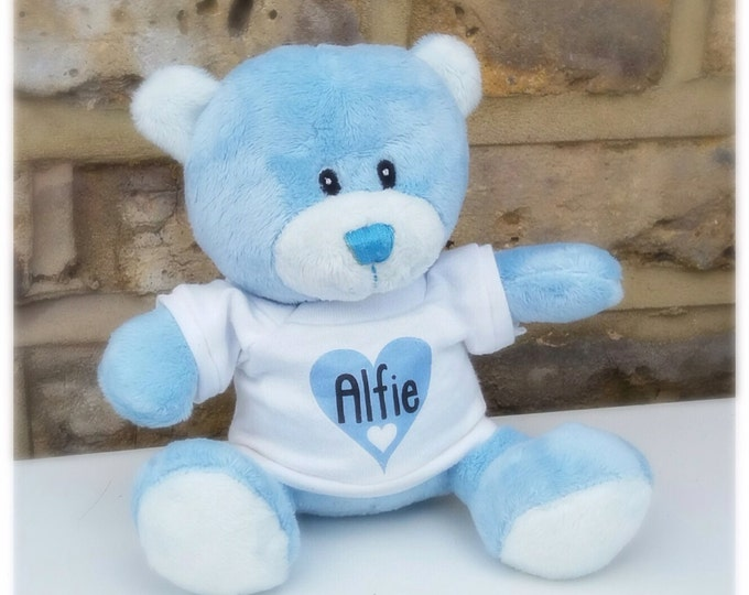 Personalised soft teddy bear | New baby gift | Birthday gift | Christening gift | Baptism | 15cm comes in gift box | First teddie bears