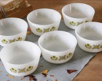 Milk Glass Bowls Fire King Meadow Spring