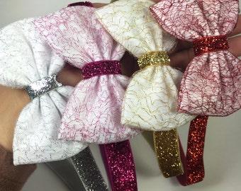 Bow headband. Baby girl hair bow. Gold hair bow. Silver hair bow. Pink hair bow . Red hair bow