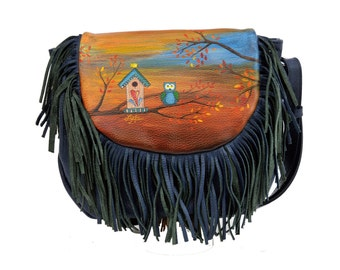Hand Painted Fine Grain Leather Purse - Ivette Ollie & Zazu Fall Blue Fringes Messenger Bag by Lyria.ro