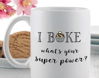 Gifts for a Baker | Baker Super Power Mug | Coffee Mugs | Tea Mugs | Baking Gift Ideas
