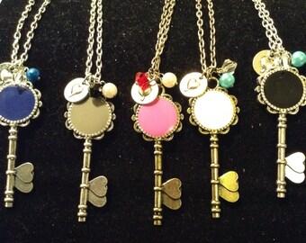 Monogram Skeleton Key Necklace Personalized