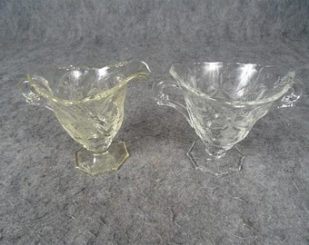 Heisey Etched Crystal 'Orchid' Creamer And Sugar