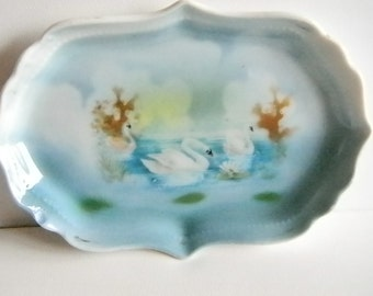 Blue Swan Porcelian Trinket Ring Dish
