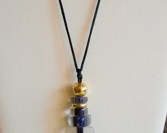 Gold Tone Clear Purple Beaded Satin Rope Necklace