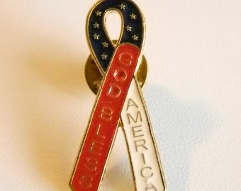 Patriotic God Bless America Enamel Red White Blue Ribbon Tack Lapel Pin Brooch