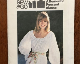 Butterick Pattern 5374, 1970's peasant blouse, original 70s pattern gypsy top, boho blouse